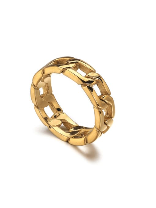 WOLF Titanium Steel  Hollow Chain Vintage Band Ring 0