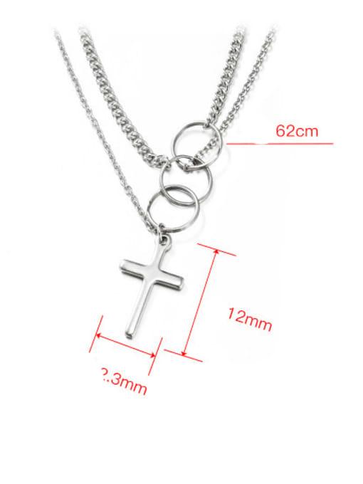 WOLF Titanium Steel Cross Hip Hop Necklace 2
