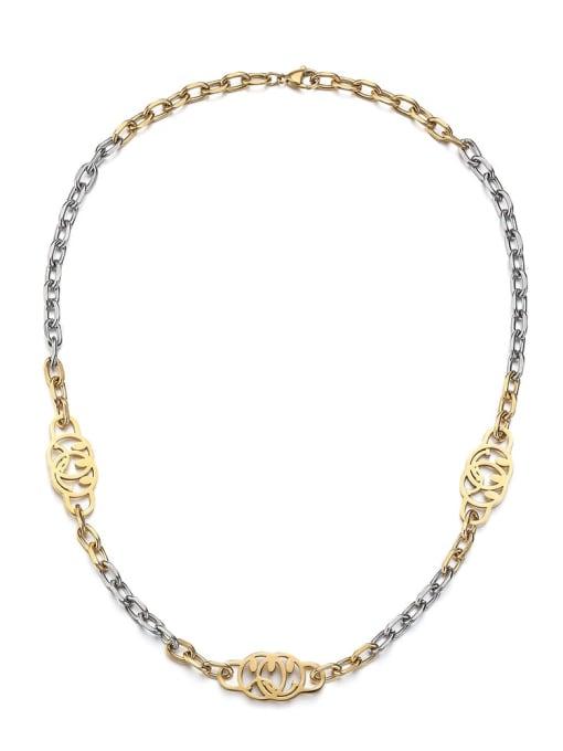 Between gold Titanium Steel Smiley Hip Hop Necklace