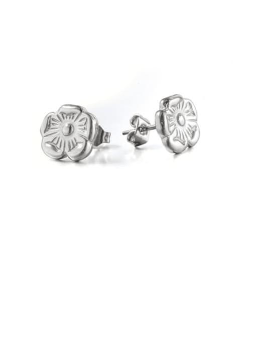 WOLF Titanium Steel Flower Minimalist Stud Earring 0