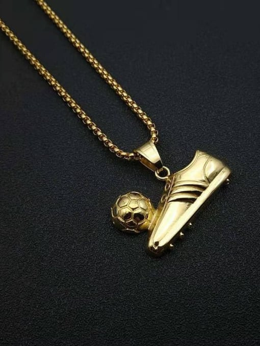 HI HOP Titanium Steel Irregular Hip Hop Football Sneaker Pendant Necklace 3