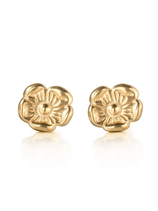 golden Titanium Steel Flower Minimalist Stud Earring