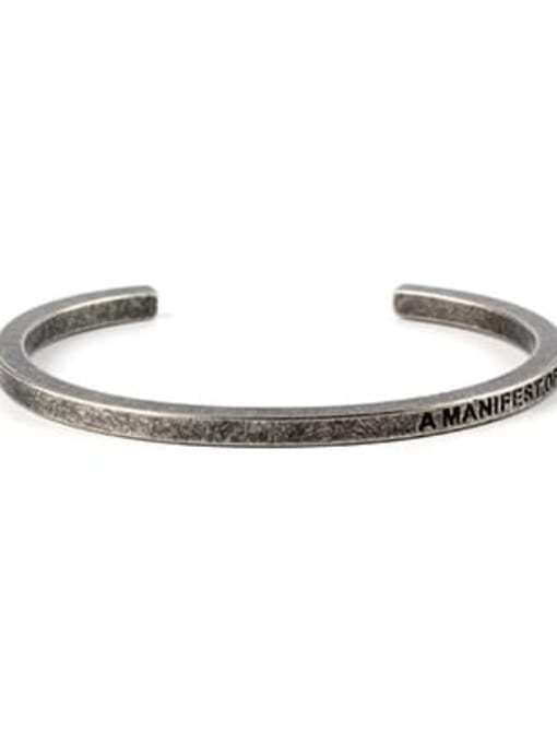 Ancient Titanium Steel Geometric Minimalist Cuff Bangle