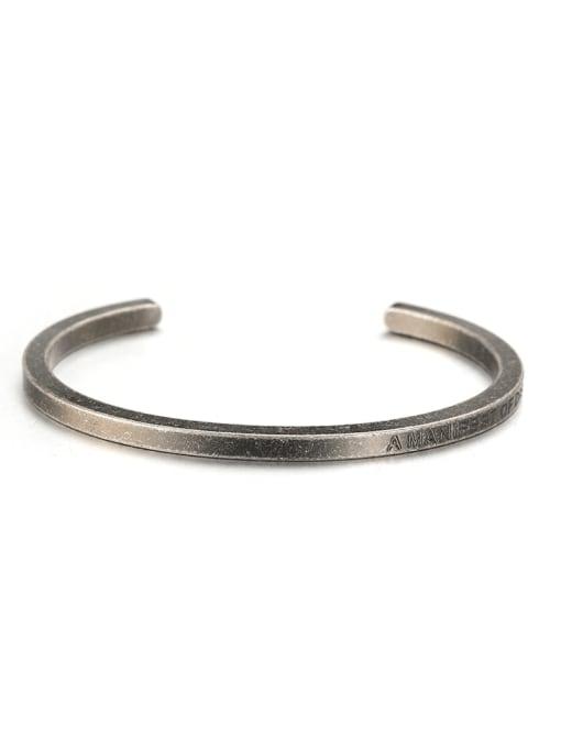 WOLF Titanium Steel Geometric Minimalist Cuff Bangle 4
