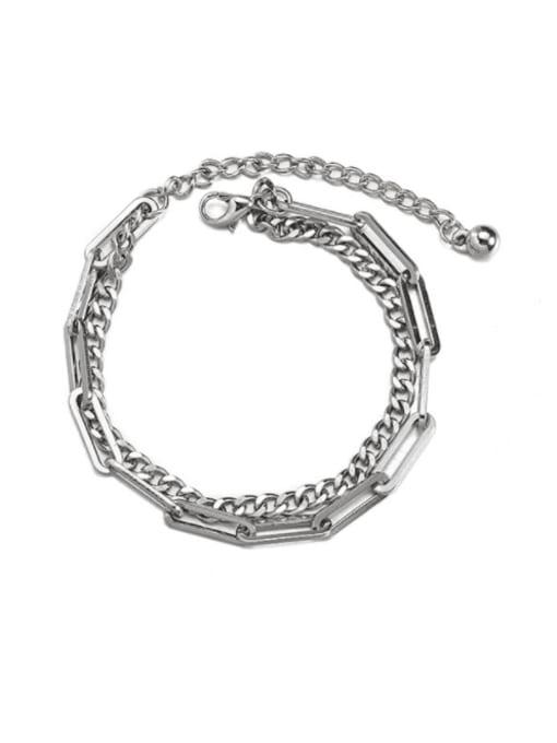 WOLF Titanium Steel Geometric Hip Hop Link Bracelet 0