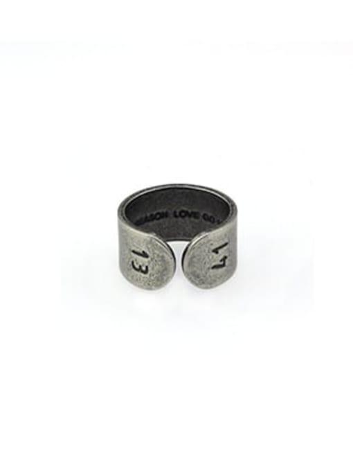 WOLF Titanium Steel Geometric Vintage Band Ring 2