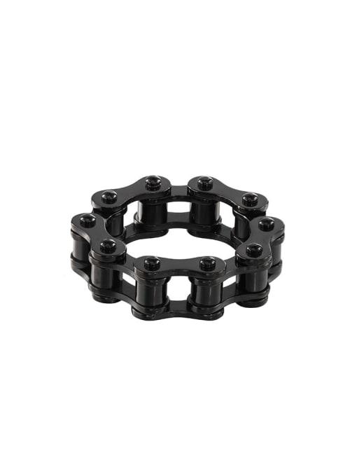 black Titanium Steel Irregular Vintage Band Ring