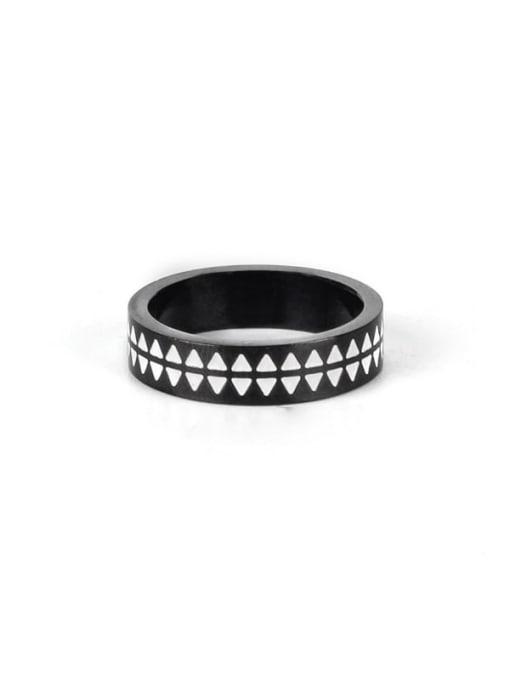 Black (size 8) Titanium Steel Enamel Round Vintage Band Ring