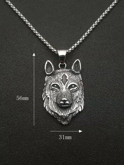HI HOP Titanium Steel Rhinestone Wolf Vintage Necklace 1
