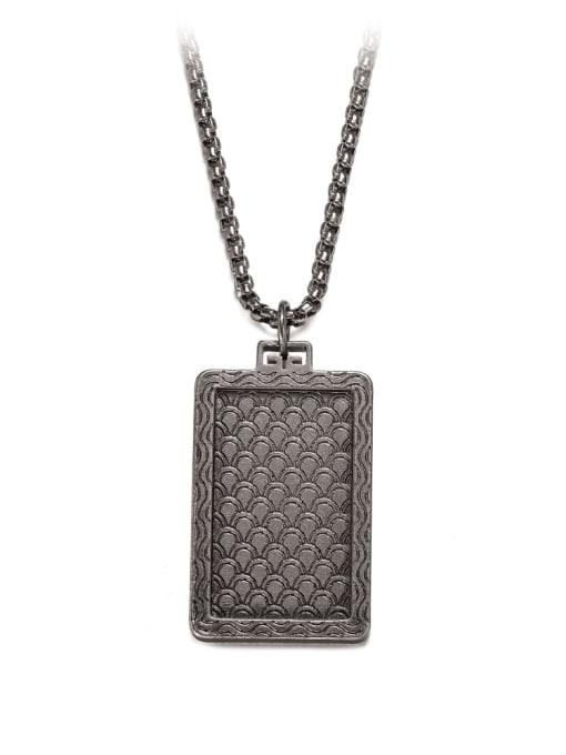 WOLF Titanium Steel Geometric Hip Hop Long Strand Necklace 3