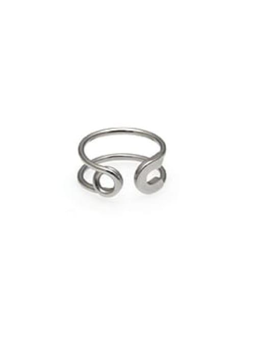WOLF Titanium Steel Geometric Minimalist Band Ring