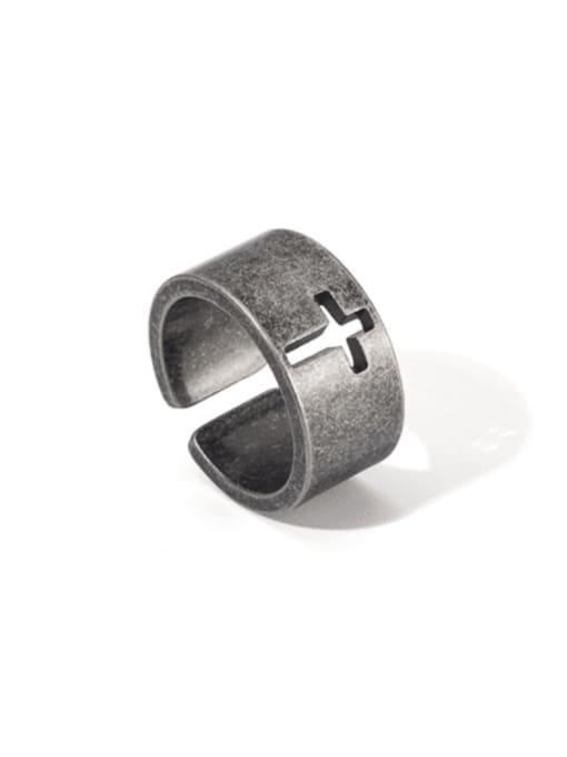 WOLF Titanium Steel Hollow Cross Vintage Band Ring 0
