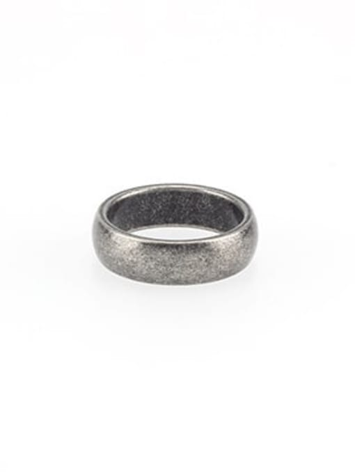Guangping small belly ancient  (size 8) Titanium Steel Geometric Vintage Band Ring