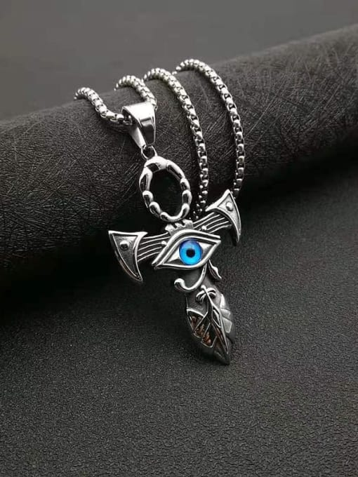 Steel color Titanium Steel Enamel Cross Vintage Necklace