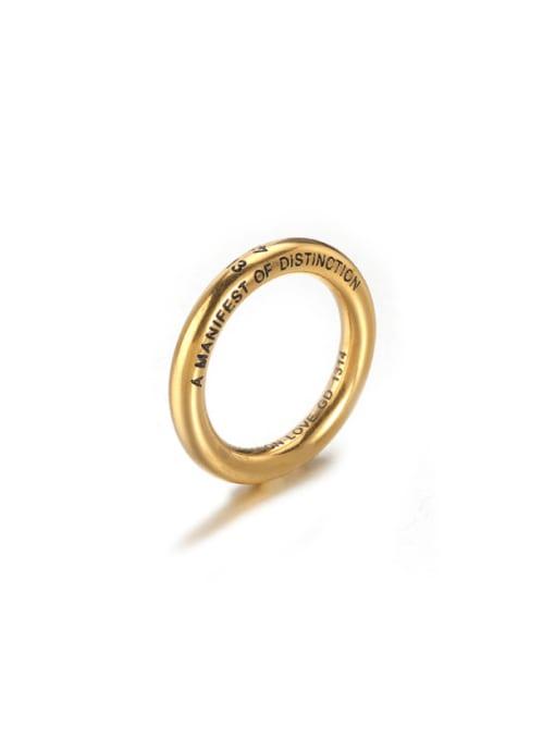 Gold (size 7) Titanium Steel Round Minimalist Band Ring