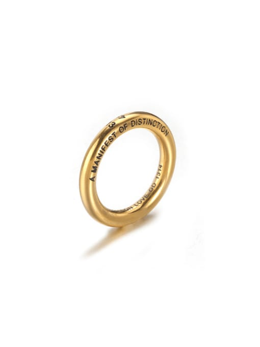 Gold (size 9) Titanium Steel Round Minimalist Band Ring
