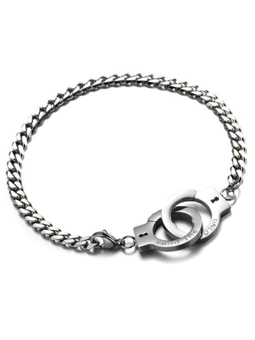 Steel handcuffs Titanium Steel Irregular Vintage Handcuffs  Link Bracelet