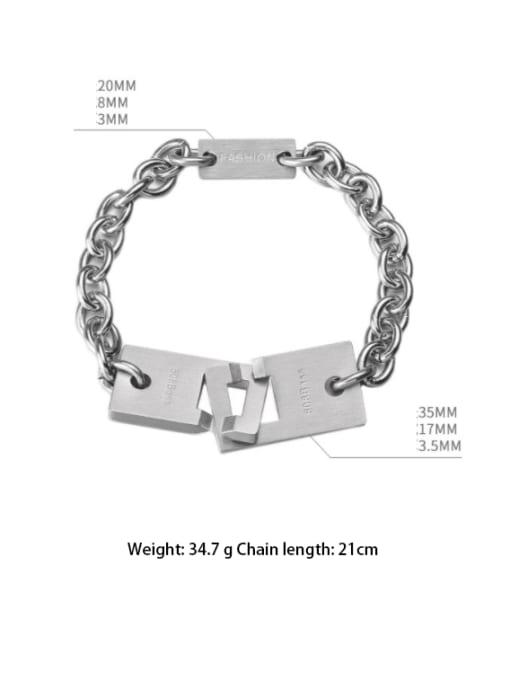 WOLF Titanium Steel Geometric Hip Hop Bracelet 3