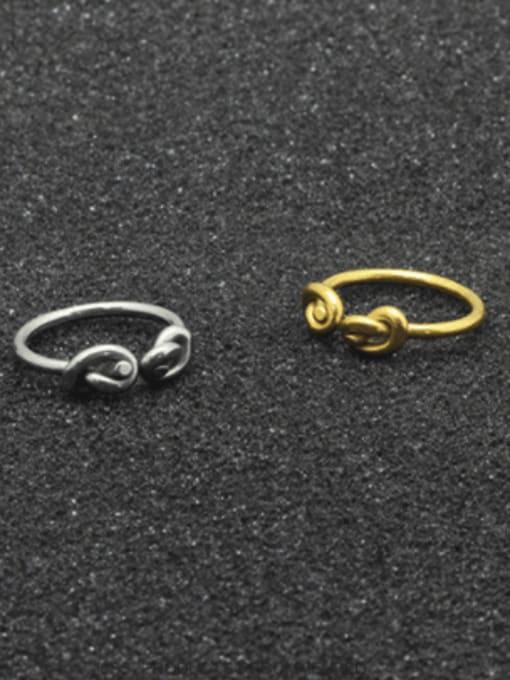 WOLF Titanium Steel Bowknot Vintage Band Ring 4