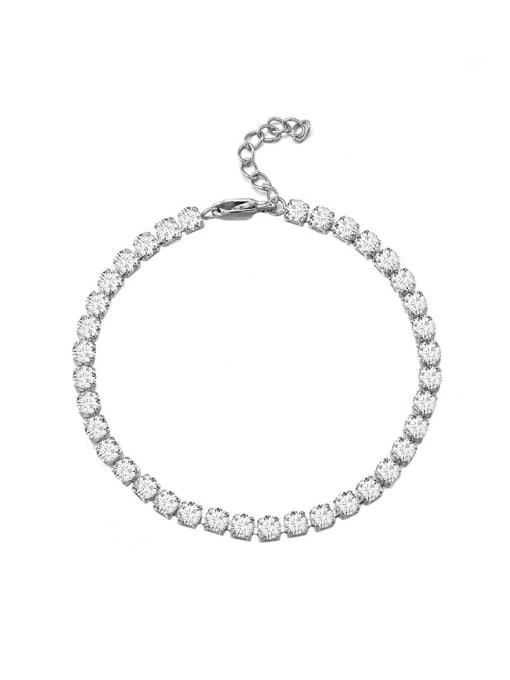 Steel color 4*18cm Titanium Steel Cubic Zirconia Geometric Minimalist Link Bracelet