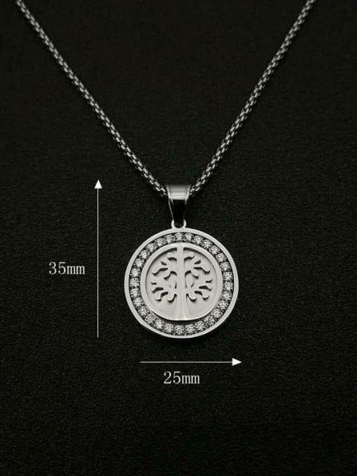 HI HOP Titanium Steel Rhinestone Tree Vintage Necklace 1