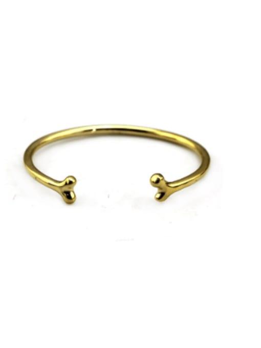 golden Titanium Steel Irregular Cute Cuff Bangle