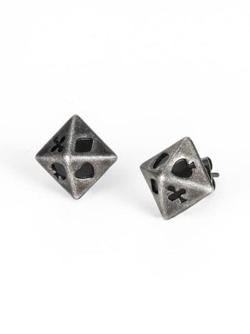 WOLF Titanium Steel Enamel Geometric Vintage Stud Earring 2