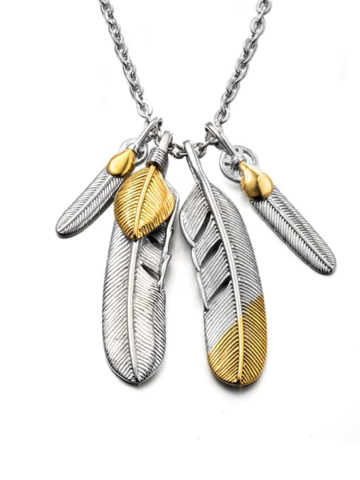 Steel color (2 big and 2 small feathers) Titanium Steel Feather Vintage Necklace
