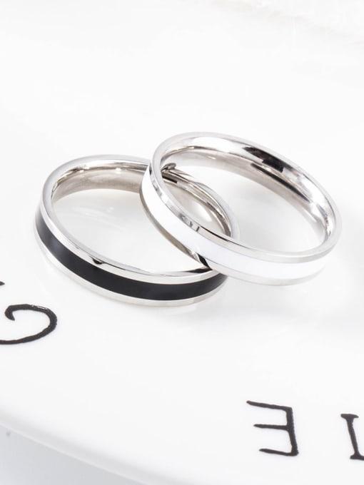 WOLF Titanium Steel Enamel Round Minimalist Band Ring 2