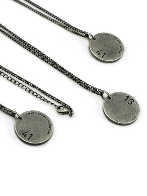 WOLF Titanium Steel Geometric Hip Hop Long Strand Necklace 0