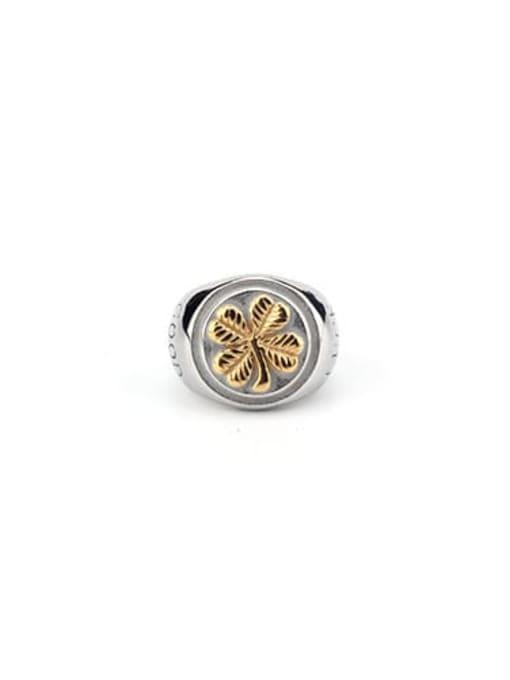 Steel color (size 6) Titanium Steel Geometric Vintage Band Ring
