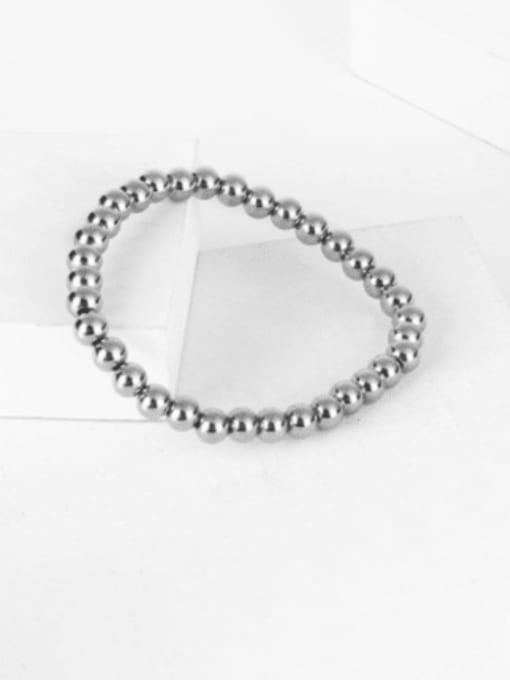 WOLF Titanium Steel Bead Round Hip Hop Beaded Bracelet 4
