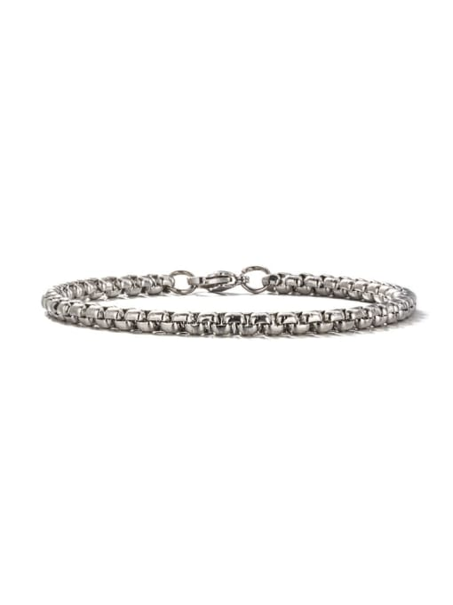Steel color (4mm*19cm) Titanium Steel Geometric Hip Hop Link Bracelet