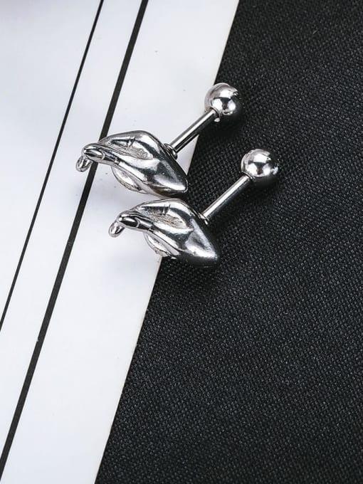 WOLF Titanium Steel Irregular Vintage Single Earring 2