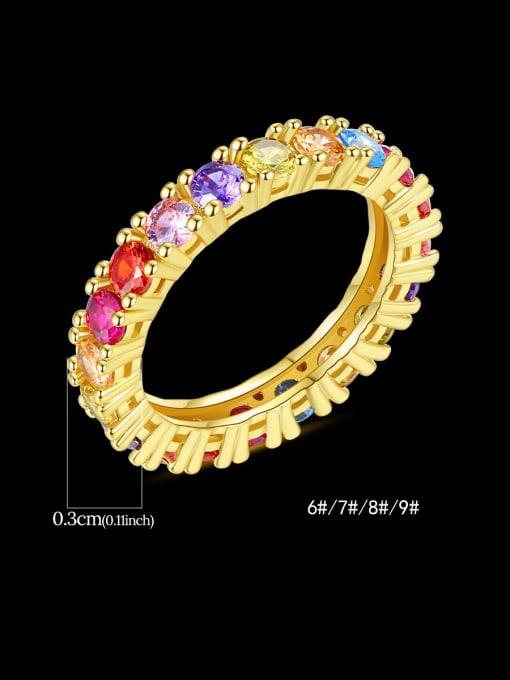 Teem Men Brass Cubic Zirconia Geometric Dainty Band Ring 4