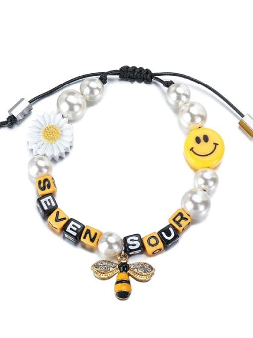 yellow Alloy Imitation Pearl Enamel Bee Hip Hop Adjustable Bracelet
