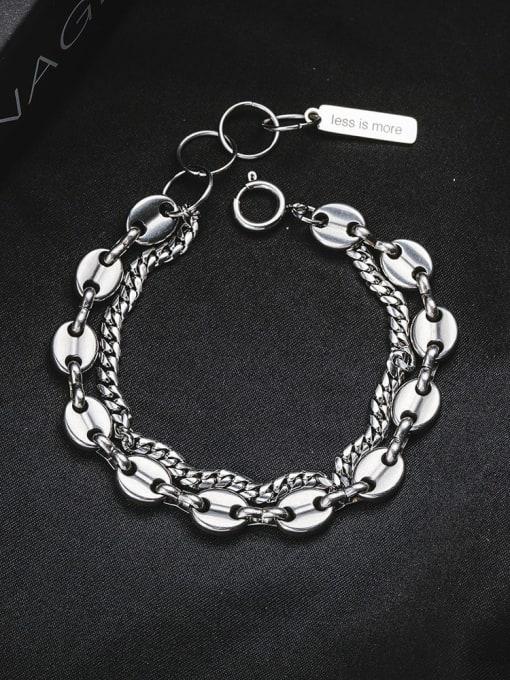 WOLF Titanium Steel Geometric Vintage Strand Bracelet 2