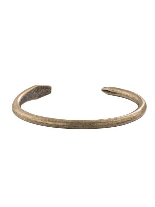Bronze Titanium Steel Geometric Hip Hop Cuff Bangle