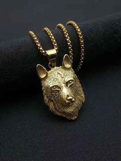 Gold Titanium Steel Rhinestone Wolf Vintage Necklace