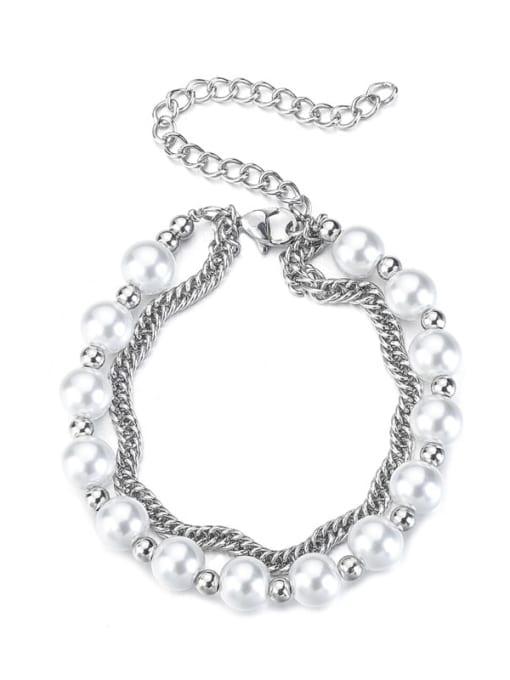 WOLF Titanium Steel Imitation Pearl Irregular Hip Hop Strand Bracelet 0