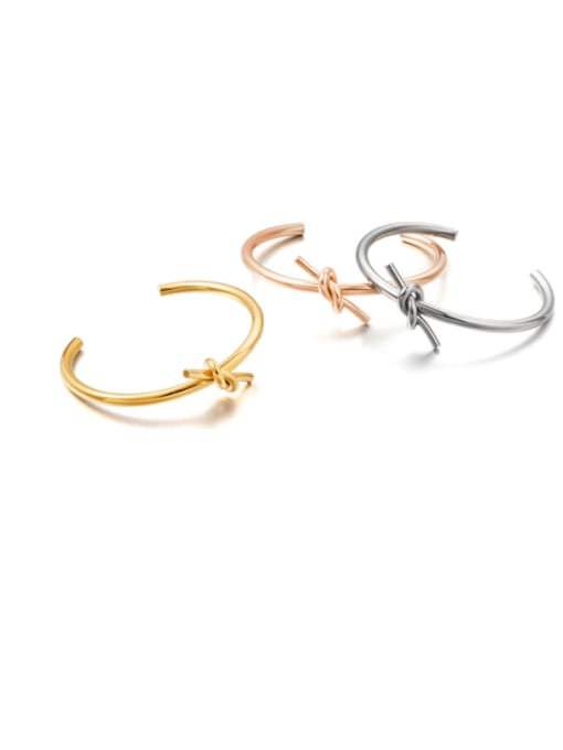 WOLF Titanium Steel Heart Knot Minimalist Cuff Bangle 0
