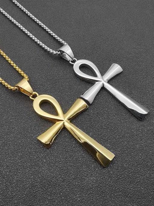 HI HOP Titanium Steel Smooth Cross Vintage Necklace 0