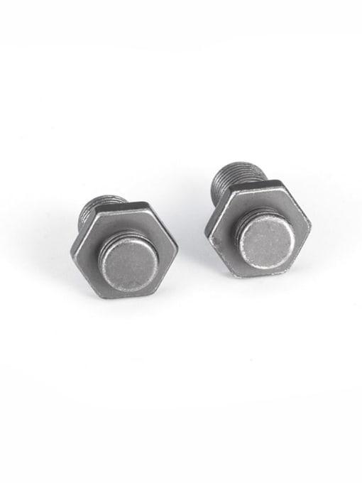 An ancient  hexagon screw Earrings Titanium Steel Irregular Vintage Stud Earring