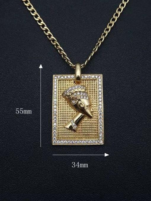 HI HOP Titanium Steel Rhinestone Geometric Vintage Necklace 1