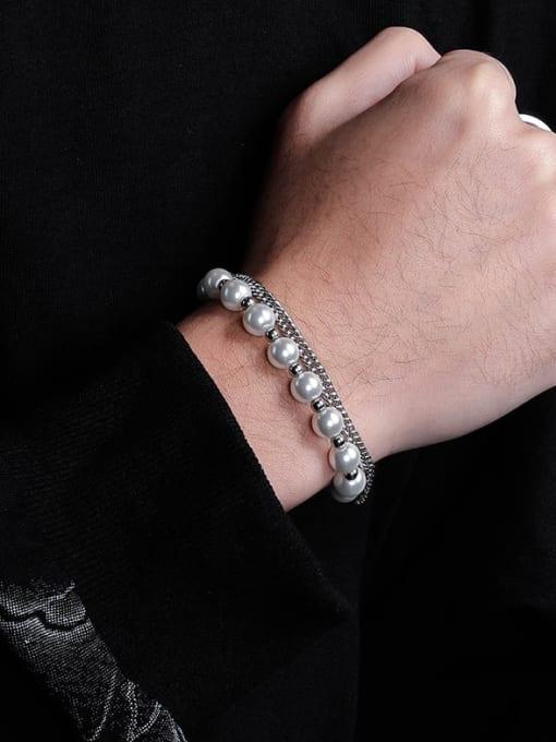 WOLF Titanium Steel Imitation Pearl Irregular Hip Hop Strand Bracelet 2