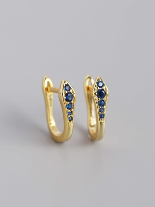 Gold Blue Stone 925 Sterling Silver Cubic Zirconia Geometric Artisan Huggie Earring