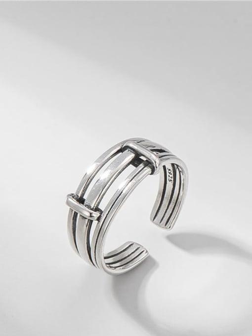 Multilayer ring 925 Sterling Silver Irregular Vintage Stackable Ring
