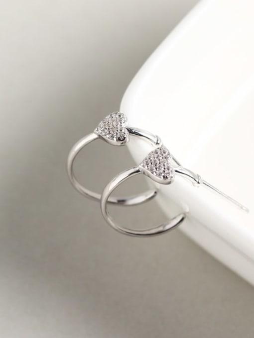 ACE 925 Sterling Silver Rhinestone White Heart Dainty Cluster Earring 1