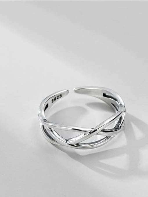 Line ring 925 Sterling Silver Geometric Vintage Stackable Ring