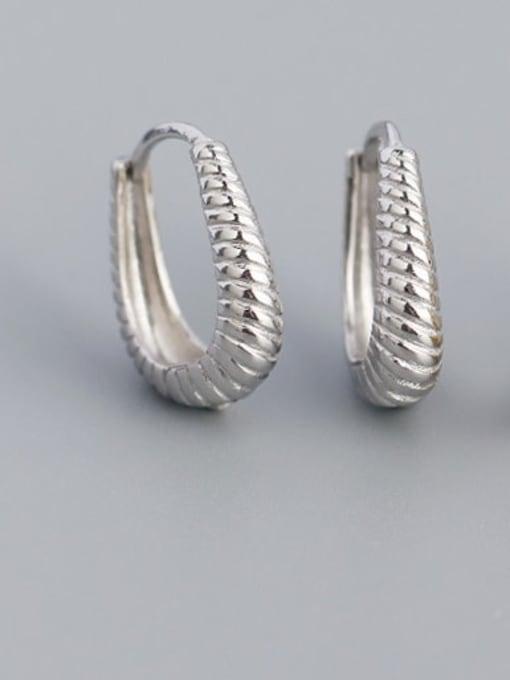 ACE 925 Sterling Silver Geometric Hip Hop Huggie Earring 3